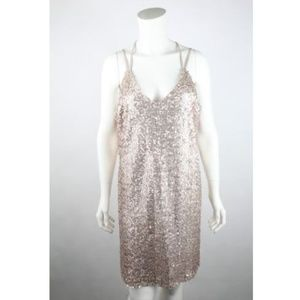 Xhilaration Women's Slip Dress  Bronze Sequins